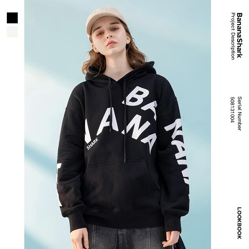 Banana shark round neck mens sweater autumn and winter thickening warm mens fashion loose jacket