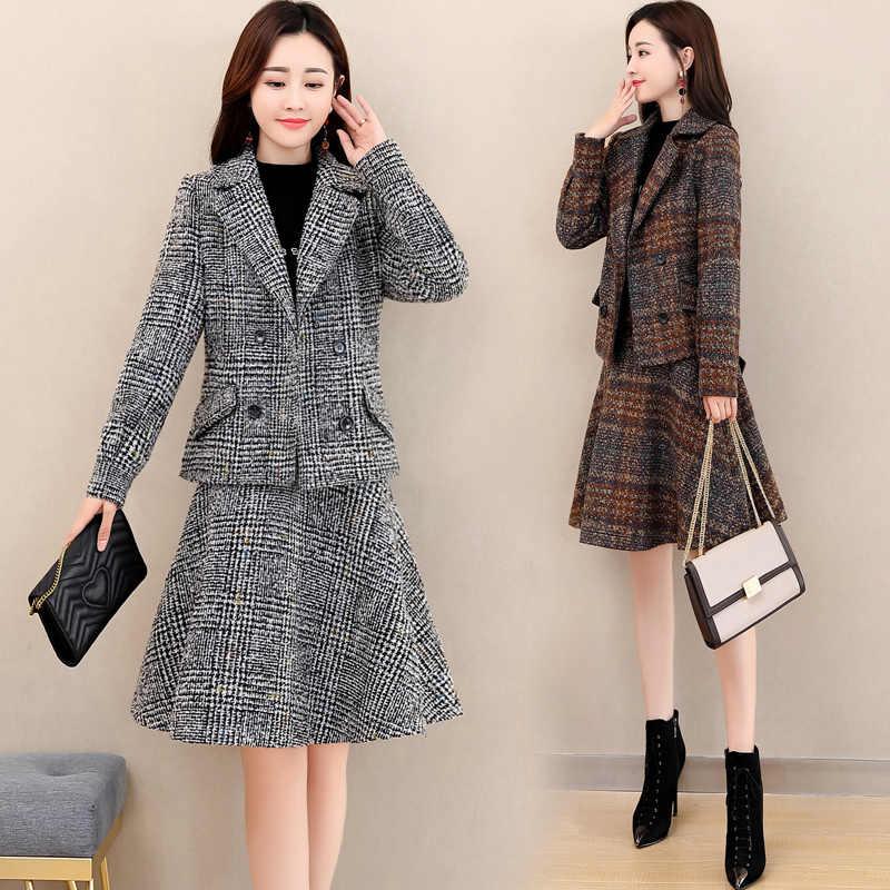 蝴蝶结修身毛呢时尚短裙西装套装2020秋冬新款韩版束腰妮子两件套