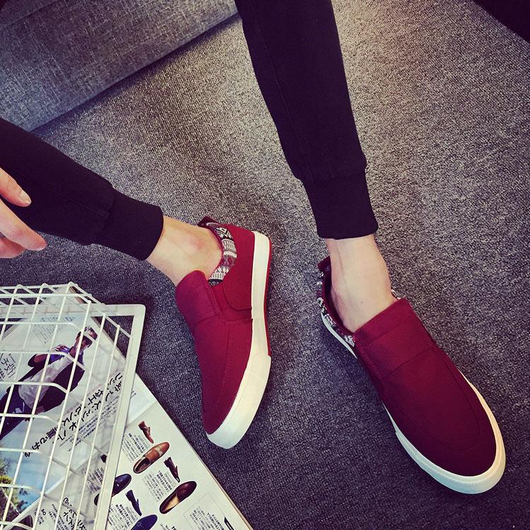 韩国新款帆布鞋韩版潮低帮鞋男生板鞋男士休闲鞋布鞋懒汉鞋黑色流