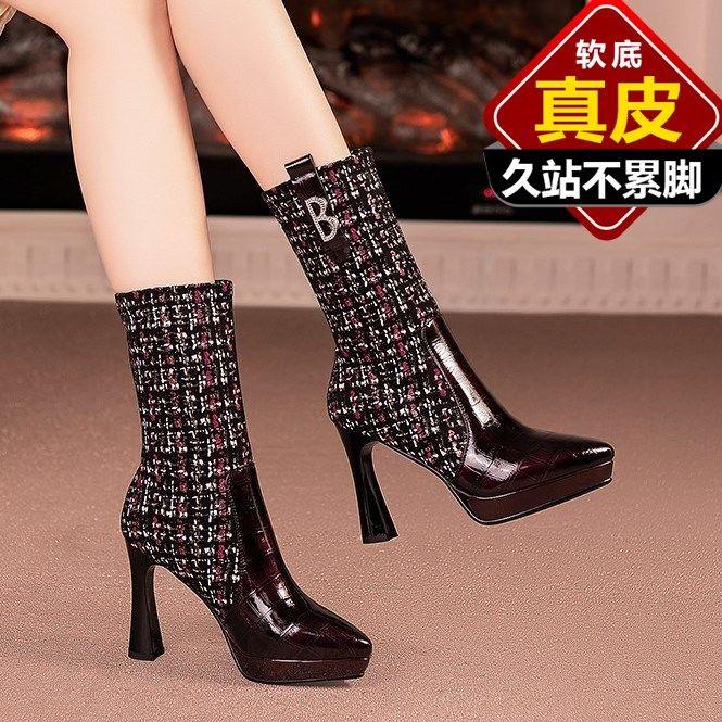 靴子女新款百搭瘦腿弹力靴袜靴女尖头防水台高跟鞋冬真皮中筒靴女