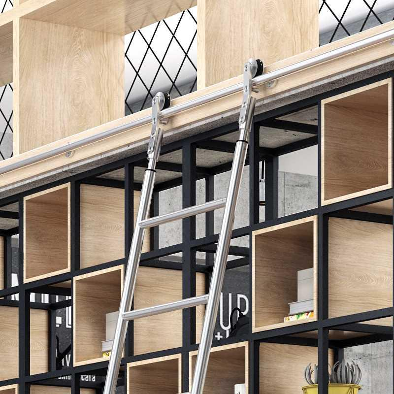 Multifunctional stainless 304 attic ladder cabinet bed indoor slide stainless steel mobile library bookshelf bookcase
