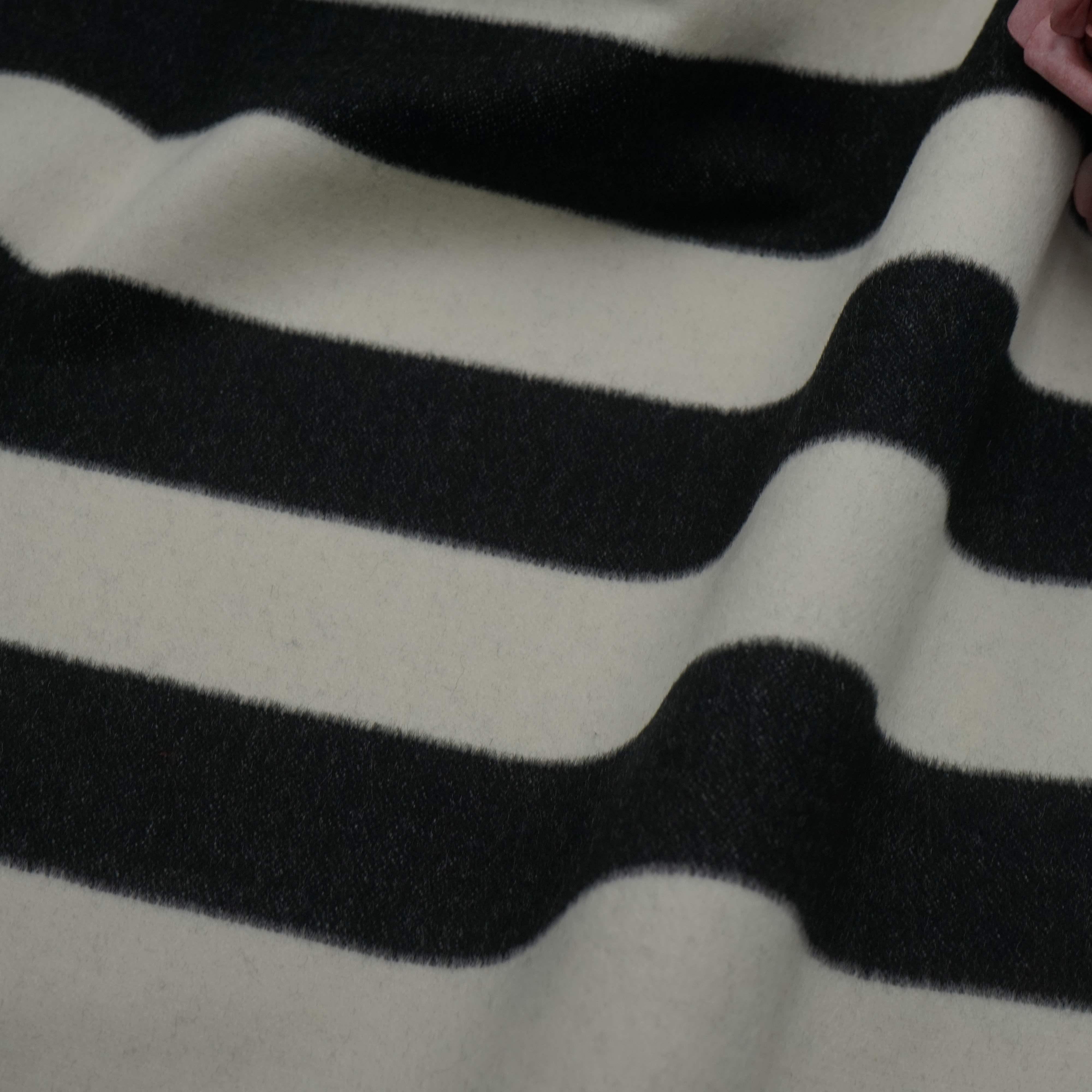 双面呢羊毛布料  黑白条纹双面可撕开毛呢面料 高档大衣毛料布料