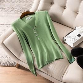 日蕃谷秋装2020年新款时尚百搭针织打底衫修身显瘦V领T恤上衣女潮