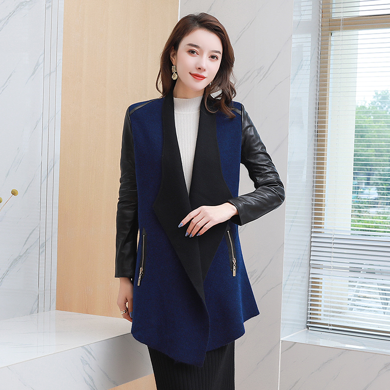Woolen sweater womens winter 2020 new style thickened and loose with pop up sweater medium length knitted cardigan coat mink velvet
