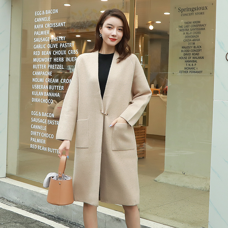 New cashmere cardigan medium length windbreaker autumn winter coat thickened with cashmere fashion warm and thin coat