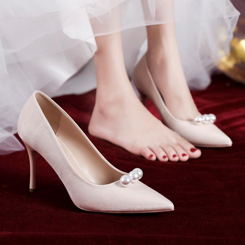 日本GK婚鞋新娘鞋平时可穿香槟色婚纱2020年新款法式主纱结婚细跟
