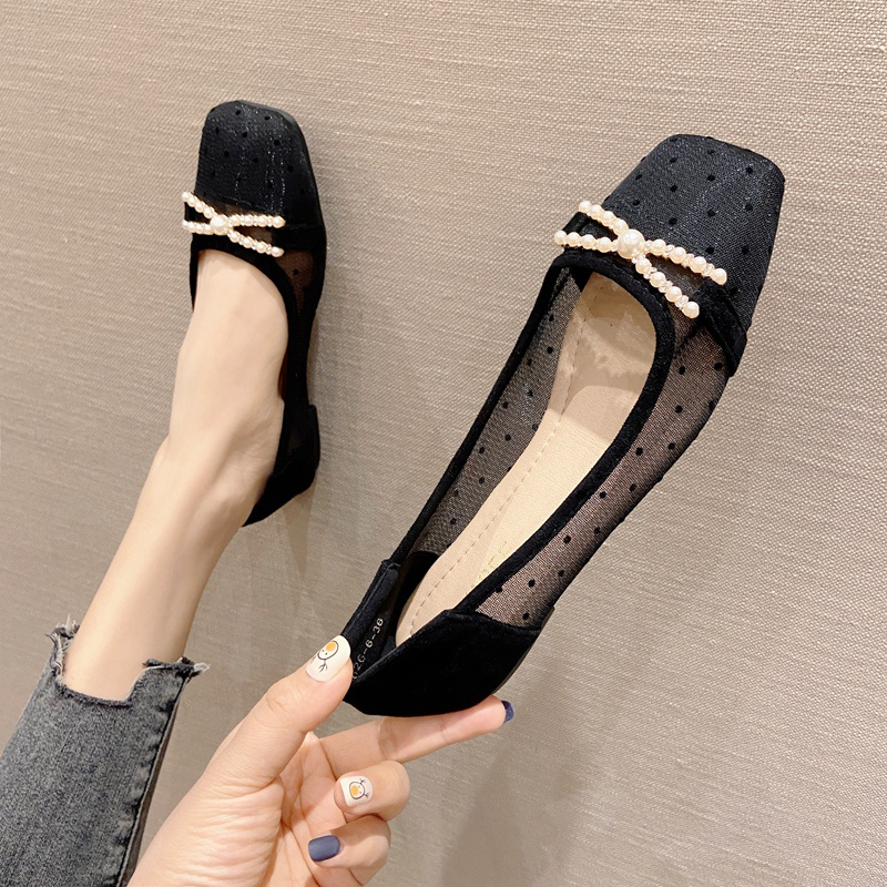 2021 spring and summer new womens shoes large suede water drill net shallow mouth square head flat heel flat bottom Baotou Sandal