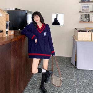 領帶白襯衫毛衣jk制服秋冬女裝學生裝學院風套裝全套英倫風兩件套