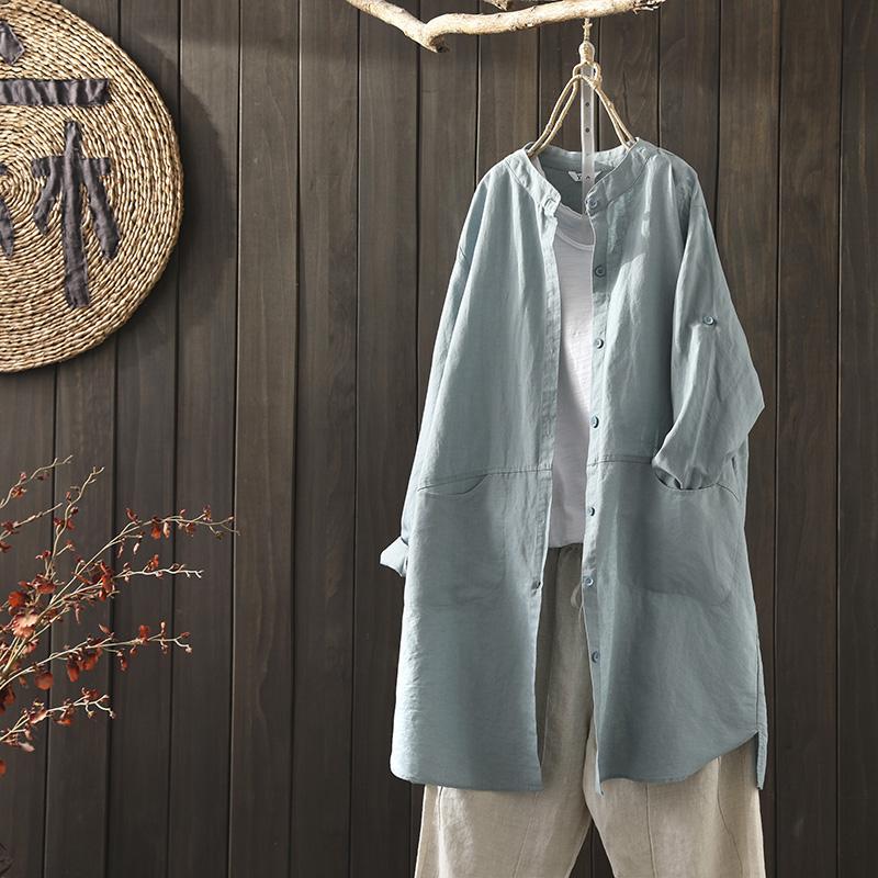 20年春装新款文艺简约棉麻中长款衬衫女宽松休闲亚麻衬衣外套