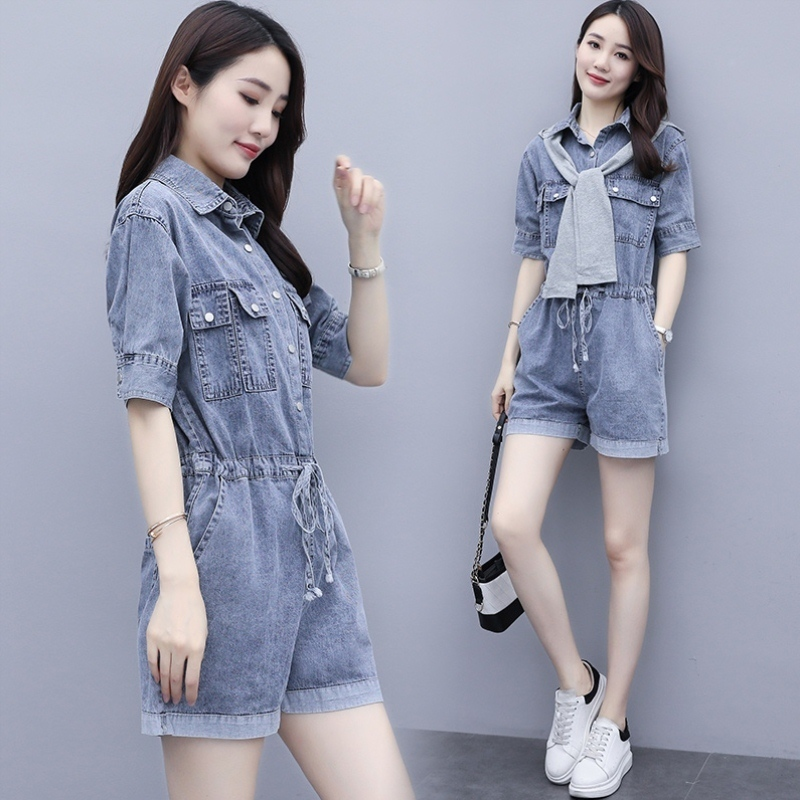Thin work clothes jeans one-piece pants womens summer one-piece clothes 2021 new spring and autumn small one-piece suit one-piece pants