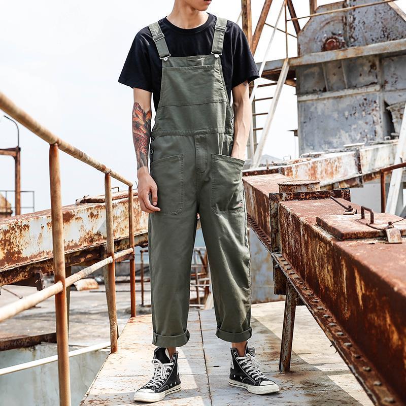 American retro one-piece casual suspenders mens big pocket tooling suspenders mens and womens Korean one-piece pants