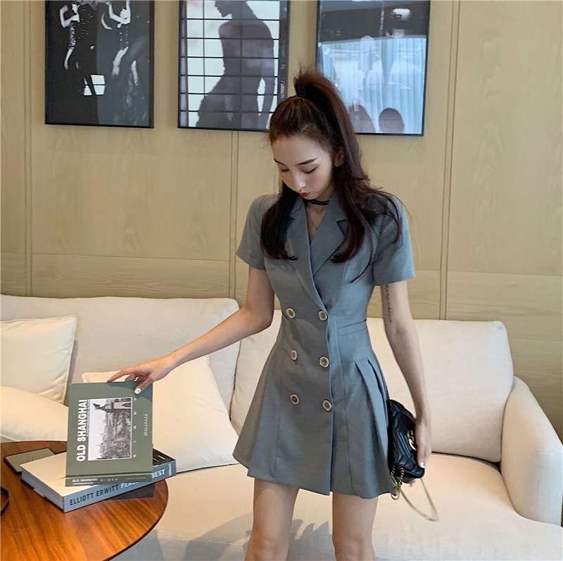 Skirt 2021 new summer celebrity style suit dress small waist slim double breasted pleated skirt
