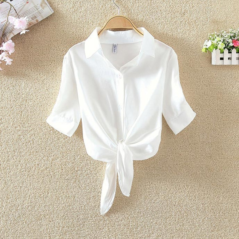 White shirt top womens short sleeve low waist stand collar large denim shirt womens short Lapel Stripe Shirt bottomed shirt