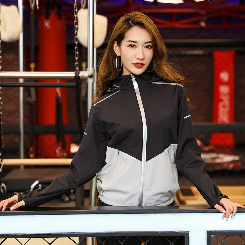 Womens sweat suit with inner net womens sweat suit womens sweat suit full zipper top hooded heat exhaust gym exercise
