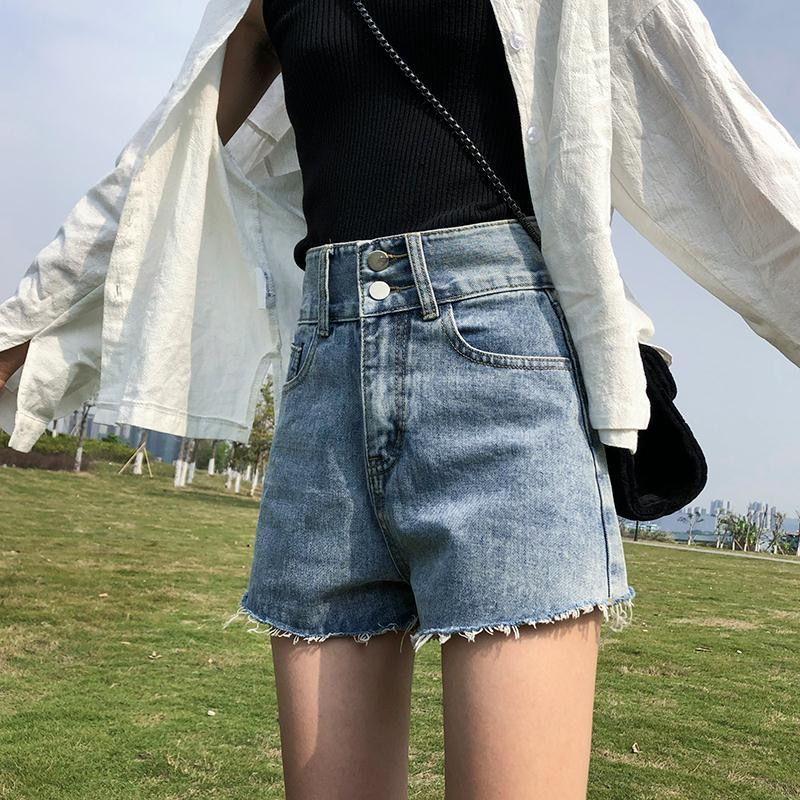 双扣牛仔短裤女夏季新款外穿韩版高腰显瘦宽松百搭a字阔腿热裤潮