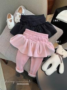 。辰辰媽嬰童裝女寶寶荷葉邊純棉褲裙女嬰兒打底洋氣外穿秋冬長褲