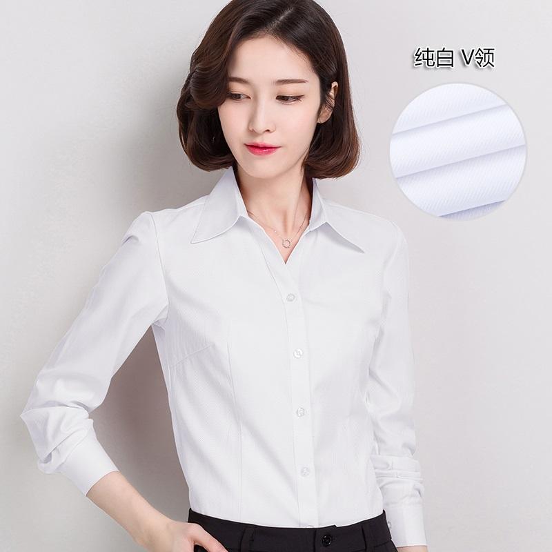 纯白色衬衫女修身 长袖作服职野衬衣 通勤衬衫衣忖黑色穿温柔女子