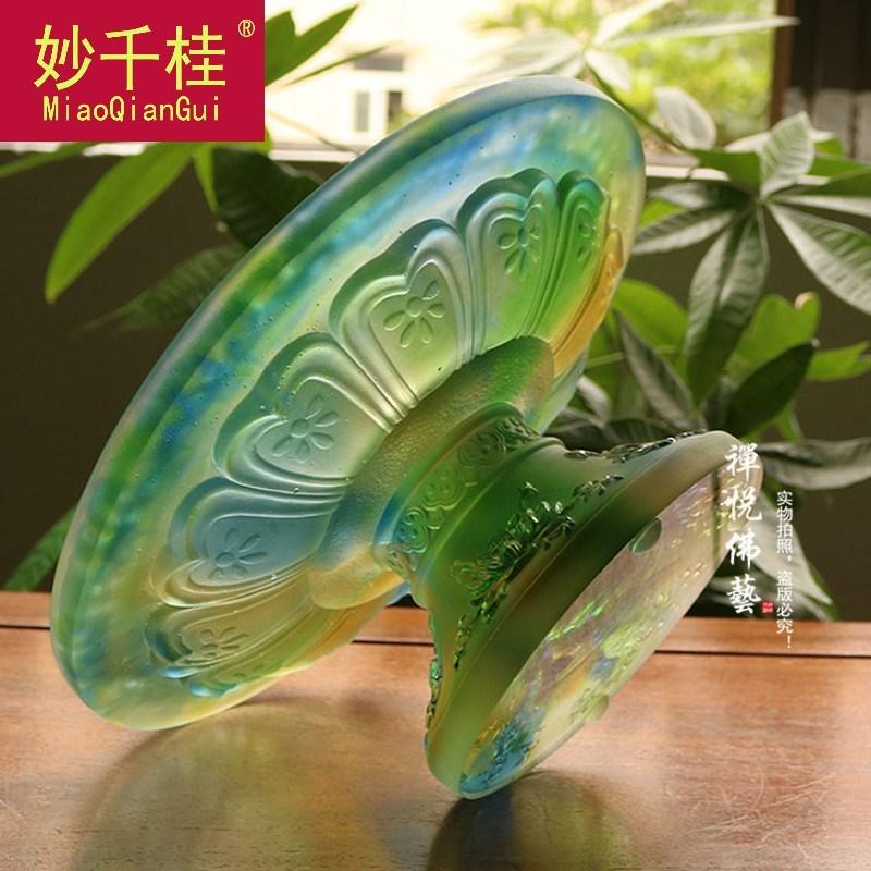 古法琉璃莲花高脚供果盘 佛教用品供佛大果碟琥珀色彩色