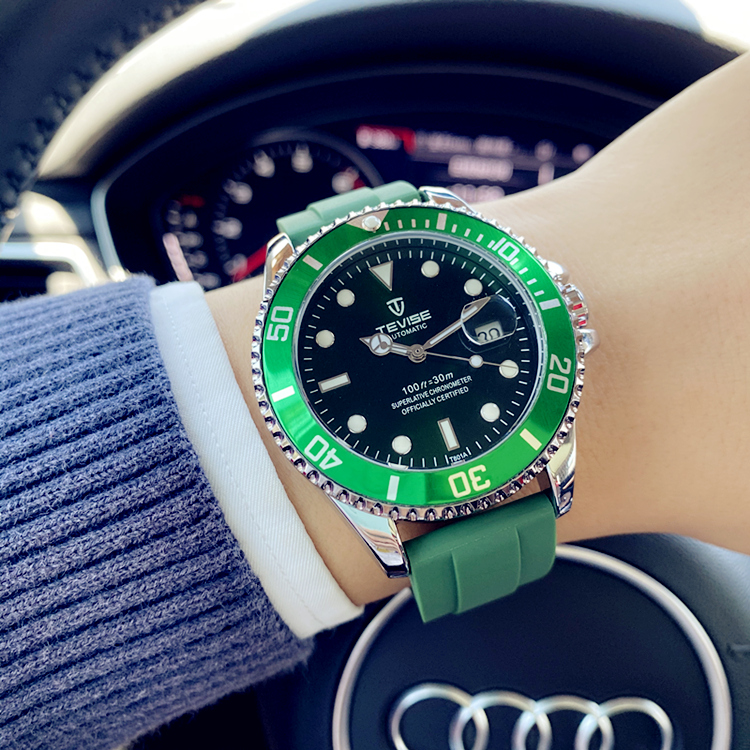 2020 genuine full automatic green water ghost mechanical watch luminous waterproof student ditongna rubber strap mens and womens watches