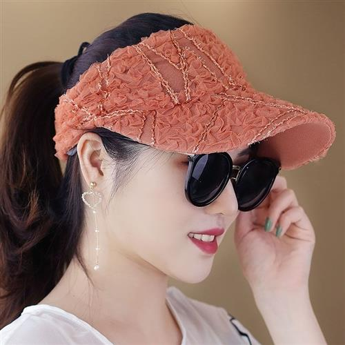 high-grade. Tie bar tail SUN HAT LACE fashion versatile top hat summer prevent ponytail Polo sweet cover meiyang
