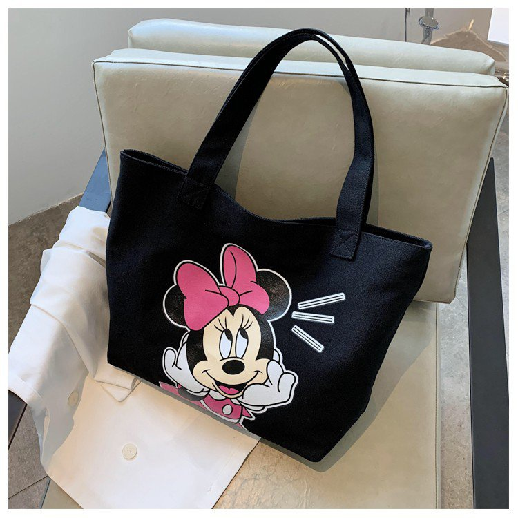 ミッキーマウスの大容量ショルダーバッグ2021新品のプリントキャンバスのハンドバックの買い物袋高校生のブーム