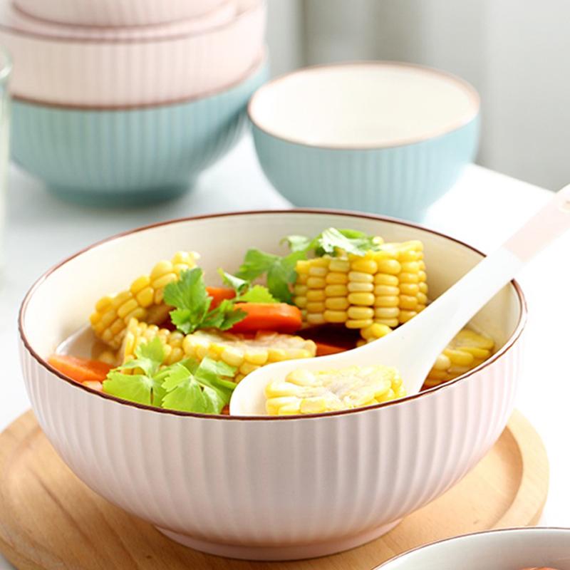汤碗烧菜盆陶瓷家用简约北欧风水果碗大号8寸拉面碗日式盛汤餐具