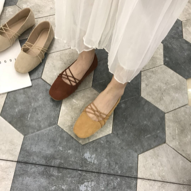 Korean retro and versatile solid double band cross ballet shoes with shallow mouth and Suede Flat Shoes