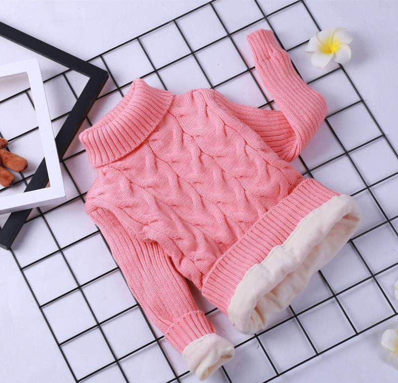 Childrens sweater white childrens knitting bottom thickening autumn and winter Pullover wool high and low collar baby twist