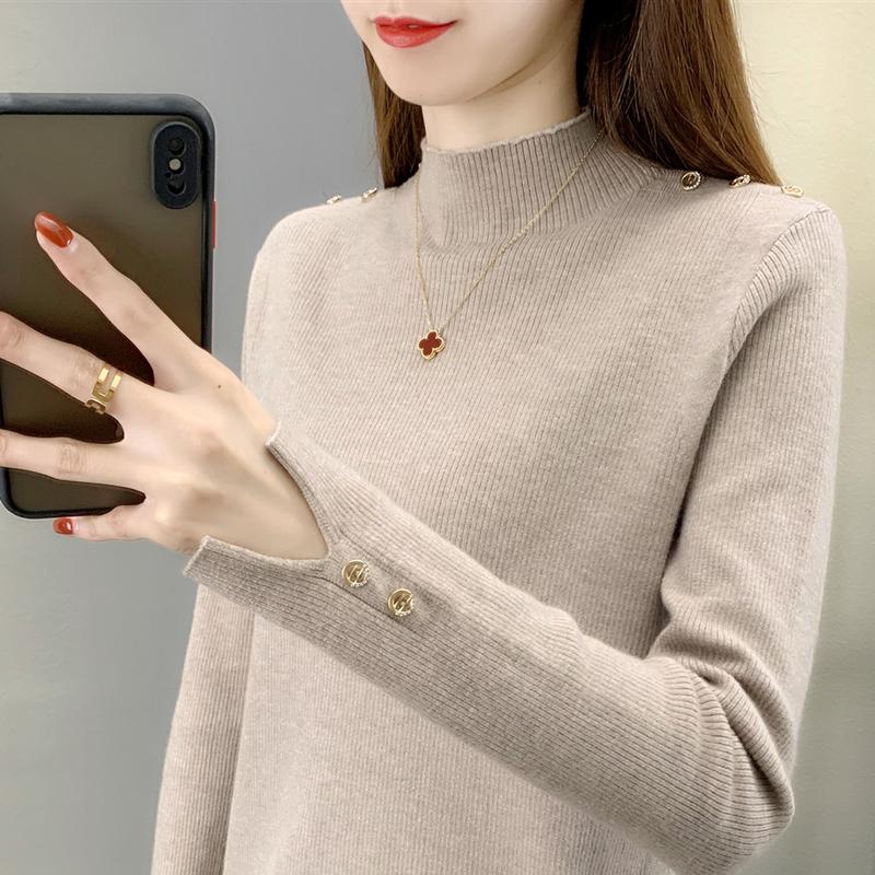 2020半高领钮扣针织开叉针织衫毛衣女装韩版潮内搭短款打底衫时尚