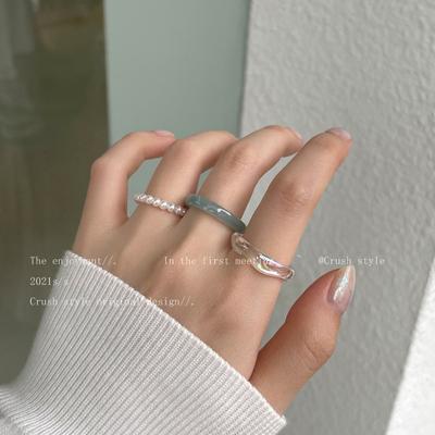 韩国亚力克珍珠戒指套装组合女法式复古高级感食指戒时尚个性指环