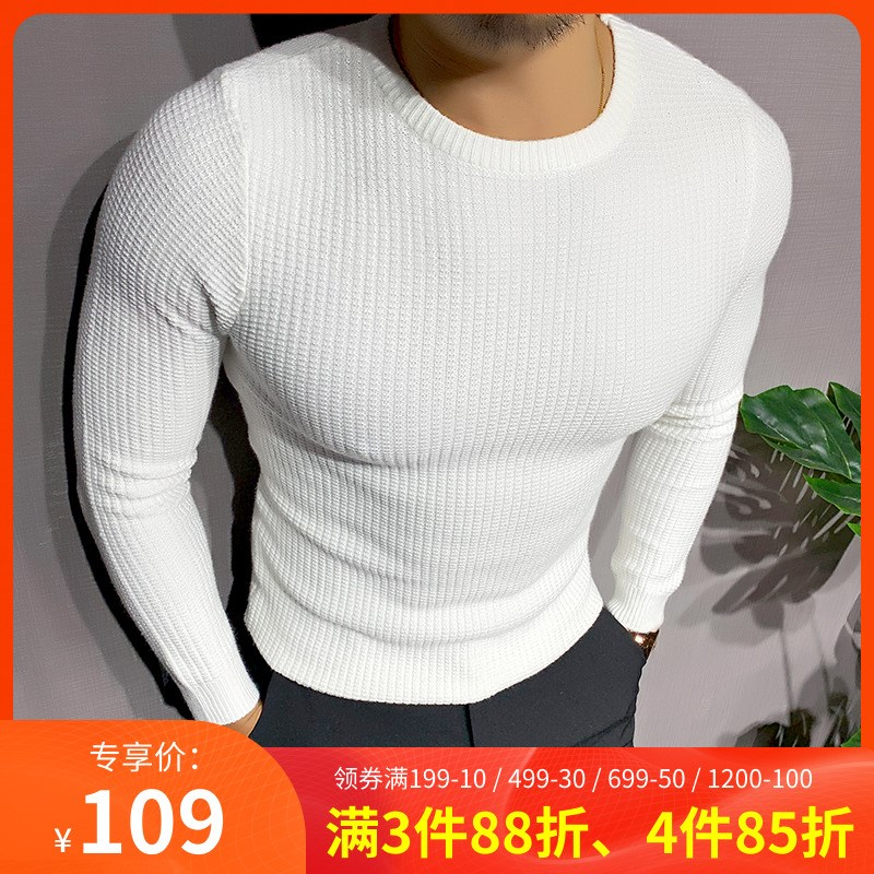 。 Mr. Hui winter mens sweater mens round neck solid color basic muscle mens Korean elastic bottomed sweater