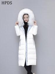2020冬季新款时尚韩版修身中长款过膝加厚白色白鸭绒羽绒服女士潮