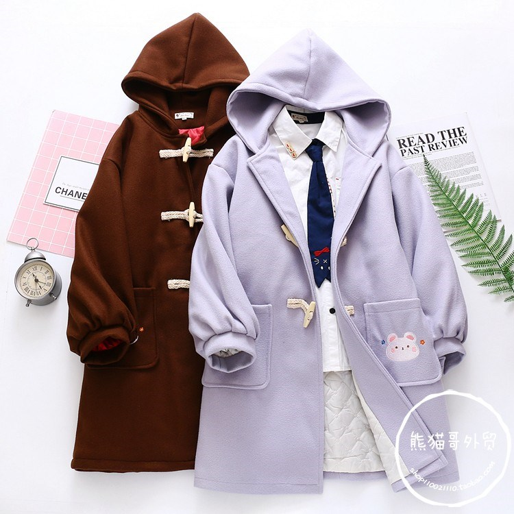 Autumn and winter Japanese college students lovely girl cute soft girl Lolita little devil loose coat woolen coat