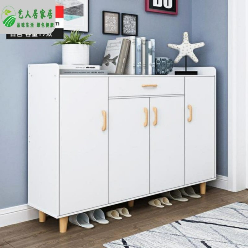 Three door closed board shoe rack storage cabinet multi-layer ecological board shoe cabinet single solid wood single door sandal storage