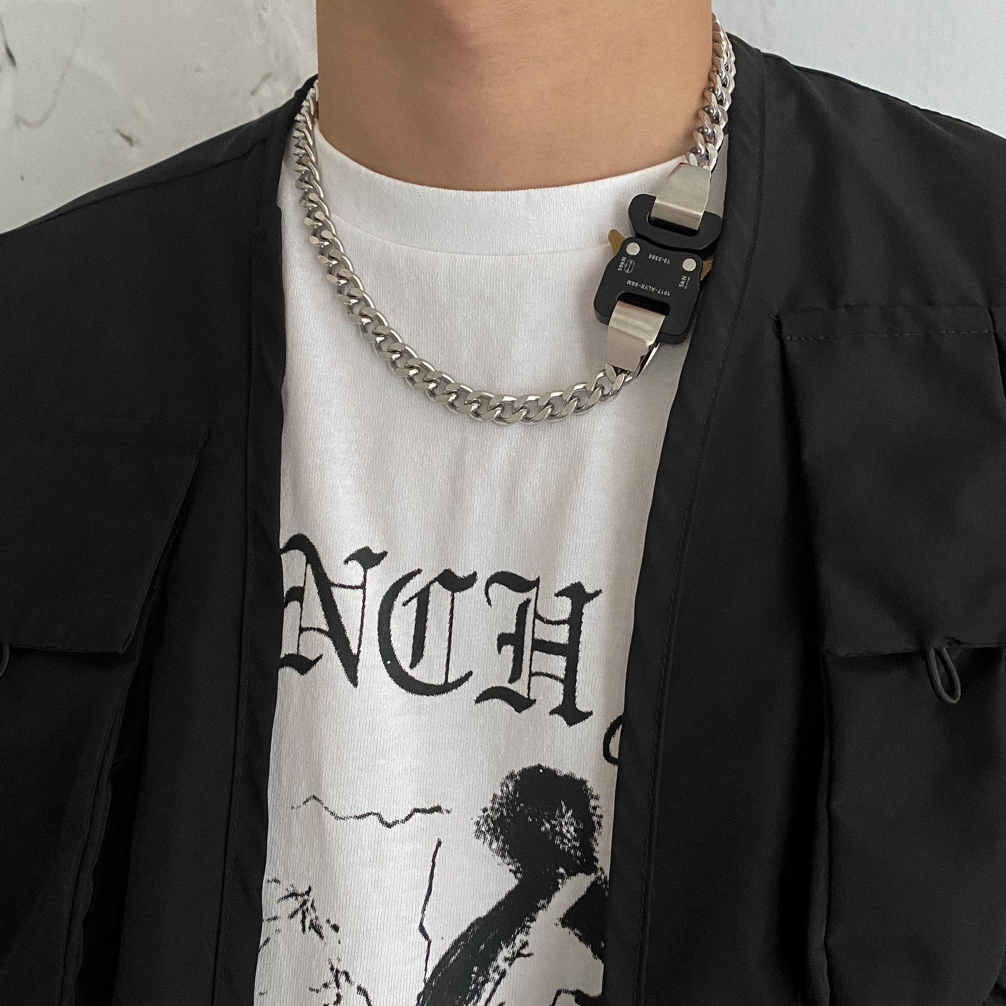 。卡门 2021SINS潮牌高街机能风9SM金属扣吊坠嘻哈个性颈链男女饰