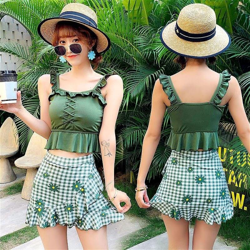 中國代購 中國批發-ibuy99 泳装 游泳衣女学生性感遮肚显瘦分体裙式两件套韩版保守小胸比基尼泳装