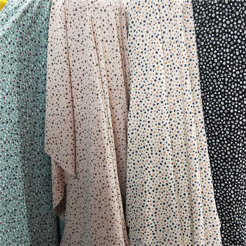 不透斑点印花布料小众花衬衫阔腿裙裤连衣裙柔软微弹面料半米价
