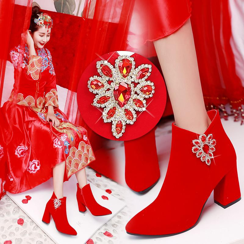 。 High heel female wedding plus red shoes winter velvet new wedding boots 2019 Chinese wedding bride thick short boots