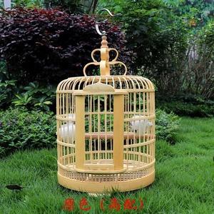 鸟笼大号特大号p大竹子芙蓉洗澡雕刻竹条虎皮竹片笼子白头翁