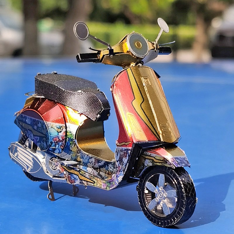 . All metal stainless steel DIY assembly model 3D mini stereo puzzle Primavera scooter