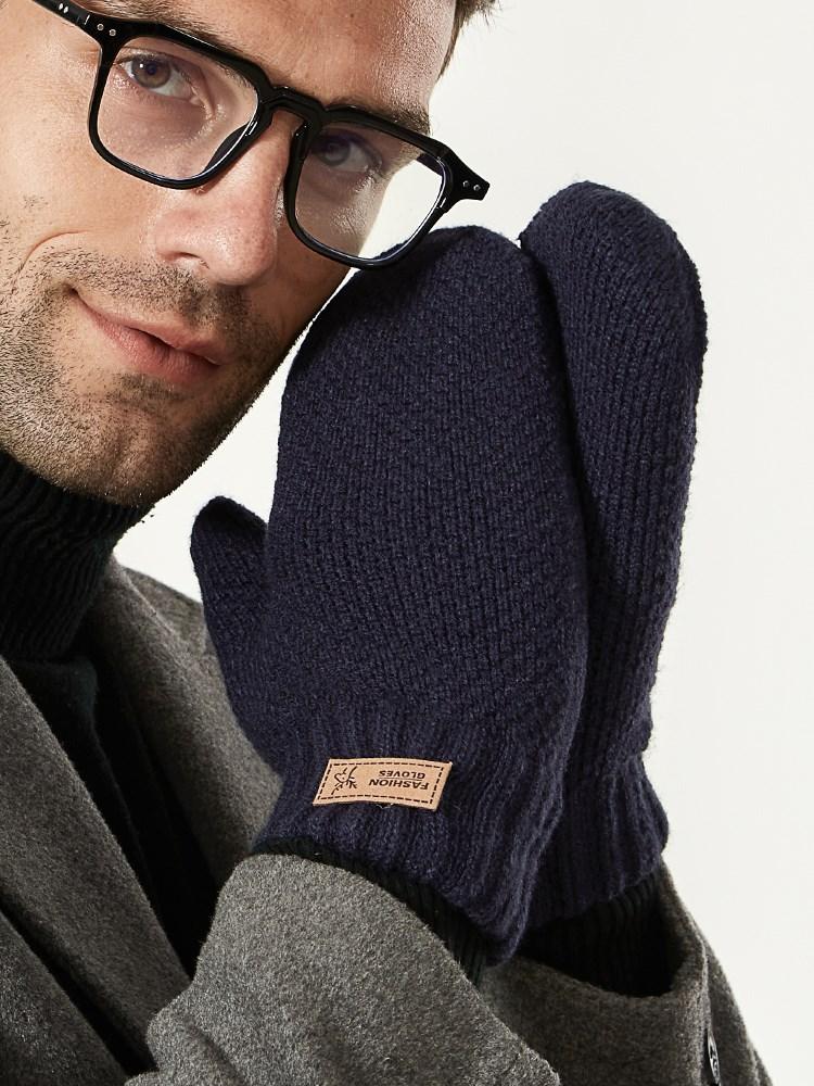 暖手套男士冬天加绒加厚棉保暖防寒防风韩版学生潮流连指毛线秋好