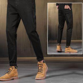 纯黑色牛仔裤男秋冬款修身小脚抓绒加绒加厚休闲薄绒冬季微跨裤子