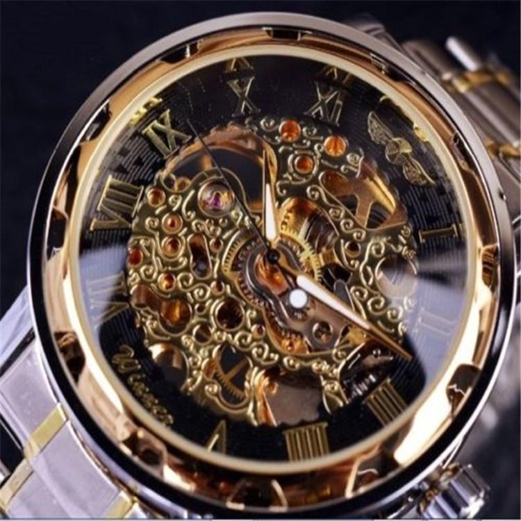 胜利者男士时尚休闲镂空表带朋克手表女学生齿轮手动机械表