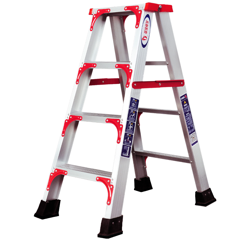 Four room folding staircase ladder step 5 thickened double side word step 2m ladder aluminum alloy engineering cabinet ladder for home use