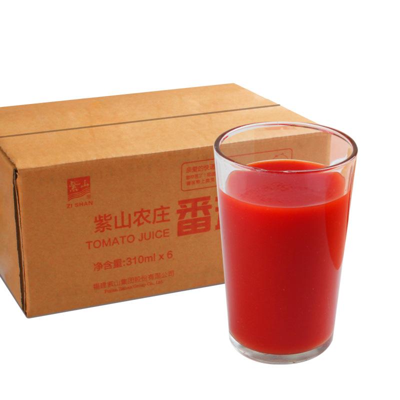 紫山农庄厦航饮品纯番茄汁 浓缩果汁水果饮料 西红柿汁310ml*6