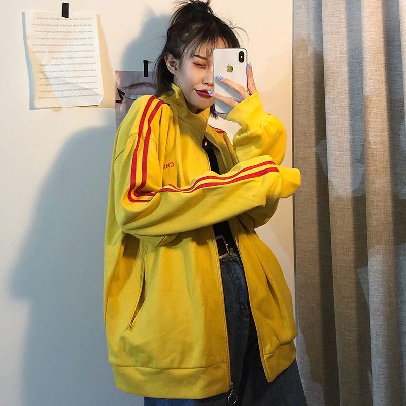 韩版潮立领开衫拉链外套女2021秋季条纹运动风bf宽松休闲学生上衣
