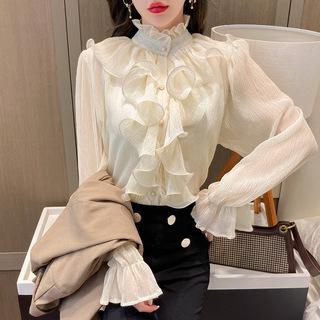 立领雪纺长袖衬衫女设计感小众2021春款女装衬衣喇叭袖荷叶边上衣