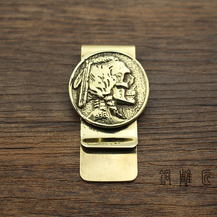 New brass skeleton one banknote clip mens Metal Wallet creative personal wallet clip creative gift