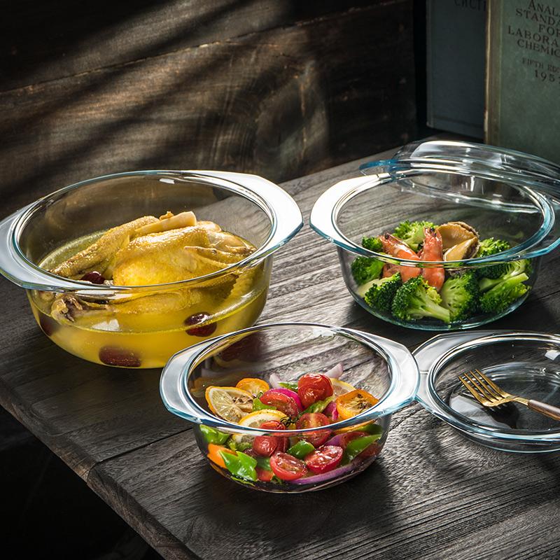 耐热透明双耳微波炉碗化碗家用汤碗大号带钢餐具碗烤箱专用玻璃盖