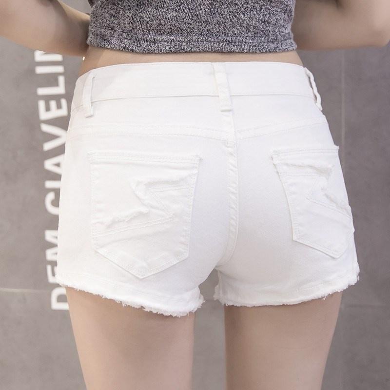 2021 summer womens low waist white denim shorts womens n stretch slim show thin hole burr hot pants ultra short